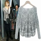 Fish Netted Hollow Out Pullover Rhombus Women's Short Sweater Knitwear Knit Top
