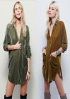 Slouchy Loose Fit Womens Velvet Micro Mini Shirt Dress Top Blouse Tunic Casual