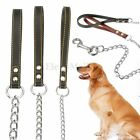 Heavy Duty Chain Metal Pet Dog Leash Leather Strap & Trigger Hook 2/3/4mmx1.2m