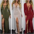 Women Lace Up V-Neck Bodycon Dress Slit Long Maxi Dress Cocktail Party Club O8M1