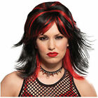 STREAKED ROCKER BLACK AND RED WIG Costume Halloween Fancy Dress Up Cosplay H4