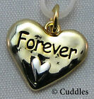 Forever Heart Charm Dangle Necklace Bracelet Silver/Gold Look Metal NEW