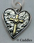 Cross Heart Love Charm Dangle Necklace Bracelet Silver/Gold Look Metal NEW
