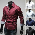 Handsome Coming Men's Luxury Long Sleeve Casual Slim Fit Stylish Shirts 5 Colors