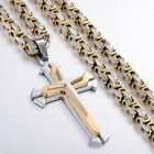 Boys Mens Chain Cross Silver Gold Tone Stainless Steel PENDANT NECKLACE 2 STYLES