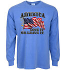 long sleeve t-shirt for men USA love it or leave it American flag pride country