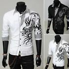 Hottest Coming Men's Top European Domineering Dragon Design Shirt Slim Fit Shirt