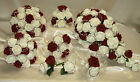 WEDDING FLOWERS, BURGUNDY, BRIDE BRIDESMAID BOUQUET POSY BUTTONHOLE FLOWER GIRL