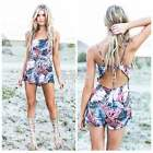 Women Sexy Mini Jumpsuit High Waist Backless Beach Playsuit Shorts Rompers S0BZ