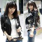 Womens winter motorcycle jacket leather jacket short oblique zipper Coat S-XXL