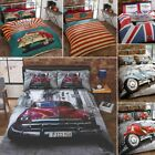 Route 66 Retro Garage Vintage Car with USA Flag Reverse Duvet Quilt Cover Set