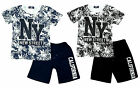 Boys NY New Street Crew Neck T-Shirt Top & California Shorts Set 3 to 14 Years