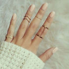 Fashion 5Pcs Set Urban Rings Crystal Above Knuckle stacking Band Midi Mid Ring