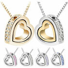 Fashion Women Heart Crystal Charm Pendant Chain Necklace Silver Plated Jewelry