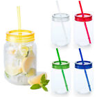 2 x 600ml Plastic Drinking Cups Mason Jam Jars Straw Colour Lids Cocktails Juice
