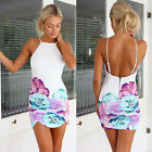 Women Sexy Floral Party Cocktail Evening Bandage Bodycon Short Mini Dress UK8-14