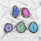 Wholesale Rainbow Agate Druzy Geode Slice Connector & Paved Zircon AJ117