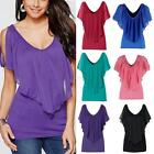 Fashion Women Ladies Summer Casual Loose Cap Sleeve Blouse Tops Tee T-shirt S-XL
