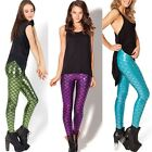 Women's Fish Scale Metallic Holographic Mermaid Geometric Stretch Legging Pant
