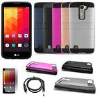 Phone Case For LG K7 4g LTE Brush Textured Dual-Layered Cover USB Charger Film