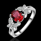 Unisex Men/Women Silver Plated Ruby Crystal Engagement Wedding Ring US Sz 7 8