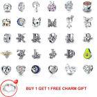 European Sterling 925 Silver Cz Charm Beads Pendants Fit Bracelet Necklace Chain