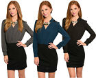 HZ Women's Long Sleeve Stretch Slim Casual OL Belt Shirt Mini Dress S M L