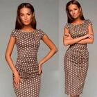 Sexy Lady Short Sleeve Polka Dot Pattern Cocktail Dress O-neck Coffee Slim Dress
