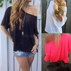 Women's Short Sleeve Sexy Off-Shoulder Tops Bloues Solid Loose Casual T-shirts