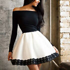 New Womens Long Sleeve Skirt Dress Lace Ladies Party Mini Dress