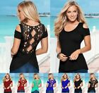 FASHION NEW Women Casual T Shirt Tops sexy lady O-Neck Blouse Slim LACE shirt