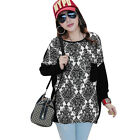 Lady Round Neck Long Sleeve Novelty Pattern Tunic Top