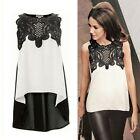 Women's Sexy Fashion Round Neck Sleeveless Irregular Chiffon Shirt Tops Blouse S