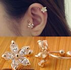 1PC Women Crystal Flower Ear Cuff Earring Fashion  Wrap Clip On Jewelry