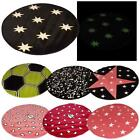 100cm Glow In The Dark Rug Round Circle Kids Bedroom Playroom Mat NEW Various