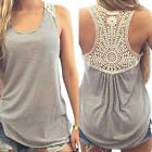 Fashion Women Summer Vest Top Grey Blouse Lace Casual Tank Tops T-Shirt US