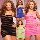 Plus Size Lingerie One Size Queen Solid and Stripe Mini Dress Chemise STM9683X