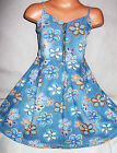 GIRLS BLUE DENIM FLOWER PRINT ZIP FRONT FLARED SKIATER PARTY DRESS