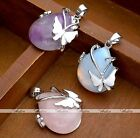 Natural Amethyst Opalite Quartz Gem Stone Silver Butterfly Pendant For Necklace