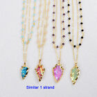 1 Strand Natural Titanium Quartz Arrowhead Layer Necklace & Rainbow Beads AG0760