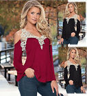 Women's loose Lace cotton off shoulder sexy V-neck long sleeve tops blouse shirt