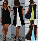 Women's Patchwork short sleeve A-line loose casual fashion mini above knee dress