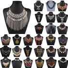 Fashion Women Crystal Charms Statement Bib Ladies Chain Choker Necklace Jewelry