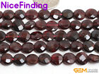 8mm Faceted Natural Garnet Gemstone Beads For Jewelry Making Coin Beads In Bulk