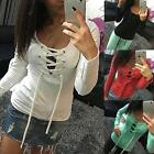 Women Sexy Bandage V neck Low Cut Long Sleeve Top Blouse Casual T-shirt Pullover