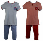 Womens 100% Cotton Striped PJs Set Ladies Short Sleeve Top 3/4 Bottoms Pyjamas