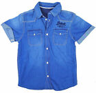 Boys Detroit 1952 Short Sleeve Cotton Denim Shirt Top 2 to 16 Years NEW