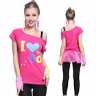 Adult Women Pink Sexy I Love The 80s Retro T-Shirt Fancy Dress Party Costume