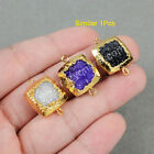 1Pcs Gold Plated Square Titanium & Dyed Druzy Agate Facted Connector AG0769