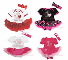 Valentine My 1ST Mother's Day Heart Cotton Bodysuit Girls Baby Dress Set NB-18M
